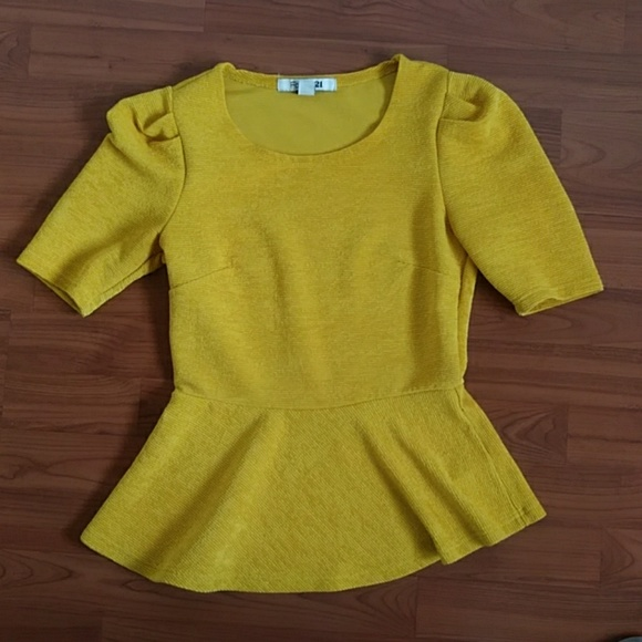 Forever 21 Tops - Forever 21 gold peplum top size small EUC
